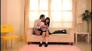 Sweet Japanese schoolgirl takes a hard pounding on the couch