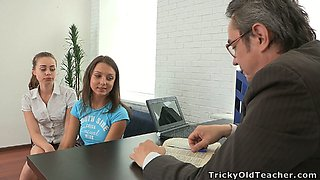 Two lovely college girls visit their teacher to seduce him