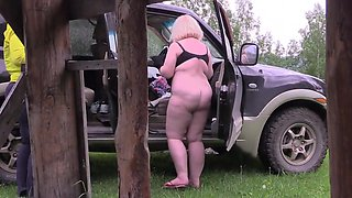 Voyeur outdoors spies on how two mature lesbians make a porn movie. Fat milf with a big ass behind the scenes. Fetish.