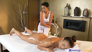 sensual massage becomes more erotic when lesbians are involved