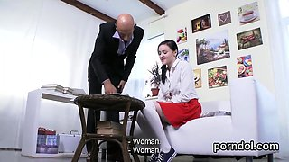 Sultry schoolgirl is teased and reamed by her senior teacher