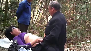 Hot chinese granny fucked outdoors