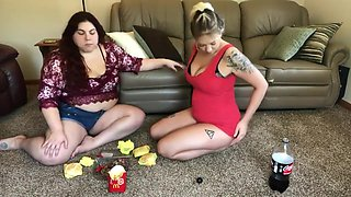 sexy bbw have fun stuffing their face