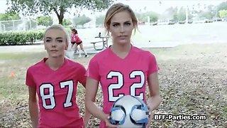 Teen soccer chicks twerking on cock