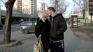 Fuckable grey-haired granny gets lured by kinky young lover in buss
