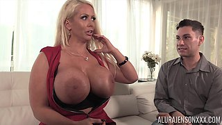 Busty MILF bombshell Alura Jenson bounces on a thick dick