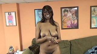 Busty ebony slut Solah LaFlare auditions for porn and goes