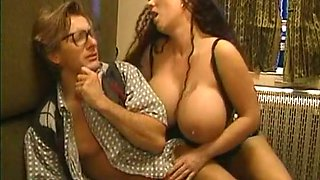 Megabusty vintage brunette and beautiful redhead sharing a dick