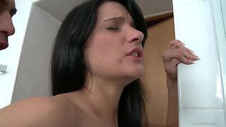 Ass Fucked And Tied Up In The Bathroom And Using A Toy