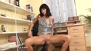 Sweet Dolly Darkley showing you her wet pussy in a close up video