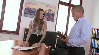 Slender secretary Karina Grand gives a blowjob and gets her muff nailed in the office