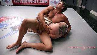 Jen Hexxx bites Racker's balls in this naked wrestling match