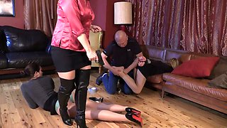 Two slutty naughty MILFs tied up and teased