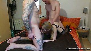 Slender blonde white girl loves threesome amateur sex