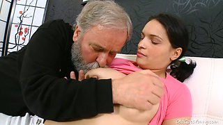 Cute and beautiful brunette girlie Diana sucks bearded man's strong dick