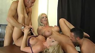 Blonde Foursome With The Gorgeous Babes Madison James And Tanya James