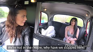 beautiful female taxi driver toyed in her cab
