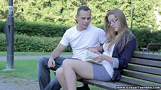 Leggy young beauty Greta gets picked up in the park and fucked doggy