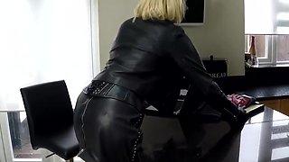 Leather secretary playing
