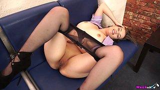 Sexy nurse Lottii Rose takes off pantyhose and bra