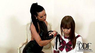 School girl Grace gets spanked