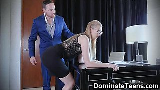 Teen Secretary Spanked and Throated!