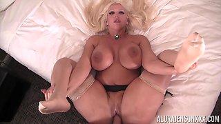 Curvy blonde beauty Alura Jenson enjoying a thin long wiener