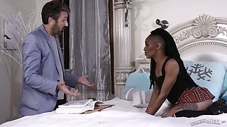 Torrid flat chested black hottie Nikki Darling is made for steamy analfuck