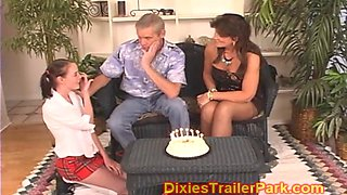 Dad and Milf give teen 18th birthday SWINGER SURPRISE
