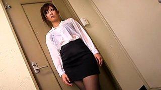 Exotic Japanese girl Haruki Sato in Horny Secretary, Blowjob/Fera JAV movie