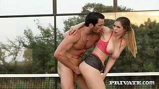 busty stella cox gets fucked in the ass on a tennis court