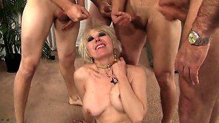 Horny granny gets naked and shows her fuckable body Then