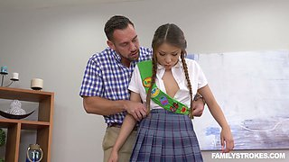 Cute pig-tailed chick Sami Parker is impaled on a hard meaty shlong