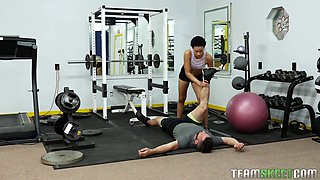 Ebony hooker Amethyst Banks seduces fitness instructor and fucks him at the gym