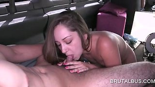 Teen picked up for sex gives BJ in the bus