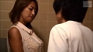 Japanese beauty widowed mom collared by son for blowjob