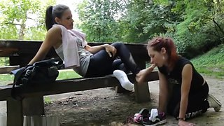 Slave sniff stinky sweaty feet after run