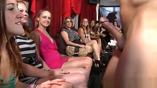 Group of wild girls cocksucking stripper