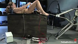 horny babe ends up completely wet after fucking a machine