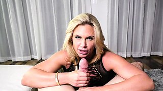 A bald dude is fucking a curvy blonde in front of husband