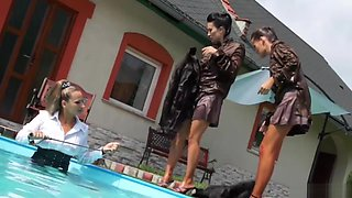Domina Makes Two Babes Battle In Pool