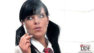 Schoolgirl gets spanked hard