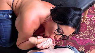 Big-boobied brunette has fun with son's best friend
