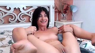 Cute brunette with dirty soles loves her fucking machine