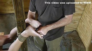 Amanda gets even more restrained and a her feet are punished severely