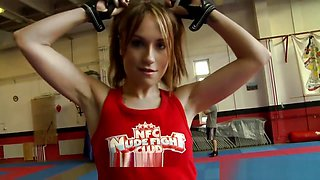 Inked beauty tribbing and wrestling