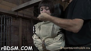 Brunette teen gets tied up and abused hard for her satisfaction