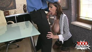 Brunette secretary hardcore and facial