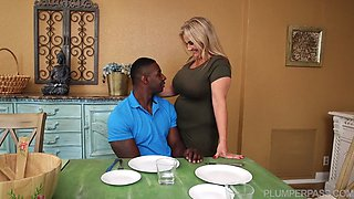 BBW blonde mature gets rammed by a black monster cock