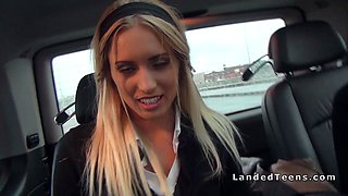 Euro schoolgirls flashing asses in car